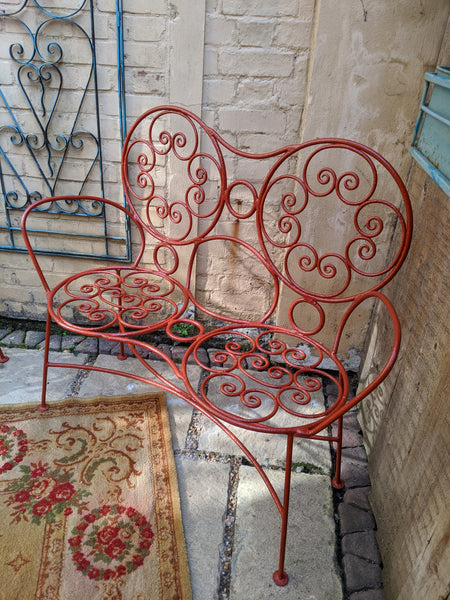 Antique French Cast Iron Garden Bench Loveseat Chairs Set