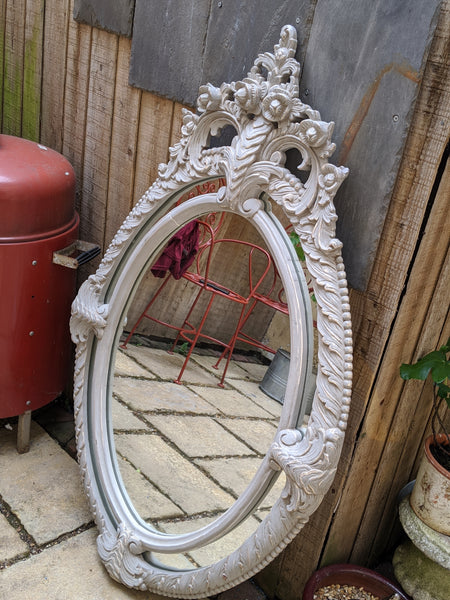 New Grey Wood OVAL French Louis Vintage Antique Style Ornate OVERMANTEL Frame Mirror