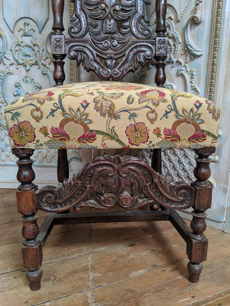 19th Century JACOBEAN Antique Vintage Oak Wood HIGH Carved Dining Side Chair