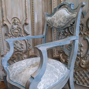 FRENCH Style Mahogany Shabby Chic Distressed Blue Floral LINEN Hall Boudoir Armchair