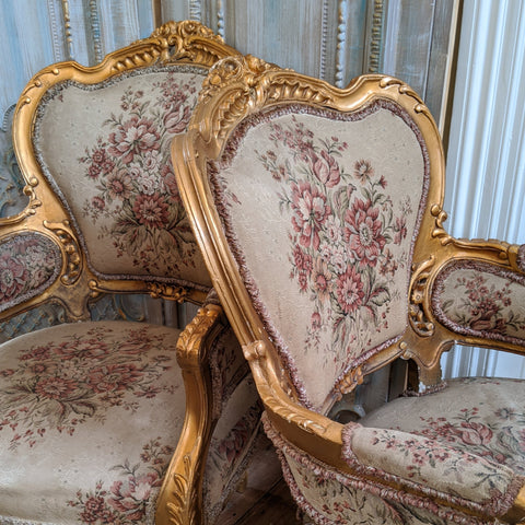 PAIR of French Antique Vintage LOUIS Shabby Chic Gold Gilt Throne Armchairs