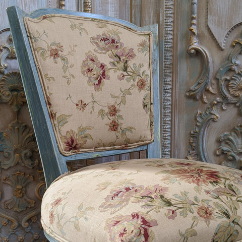 New VINTAGE Shabby Chic French Louis Pale Blue LINEN Hall Dining Side Farmhouse Chair