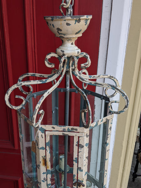 New CREAM & Teal Blue Shabby Chic French Style Rustic Ceiling Light LANTERN Chandelier