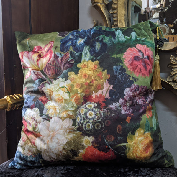 "New 18"" Square Black Printed FLORAL Design Shabby Chic Style VELVET Feather CUSHION & Cover"