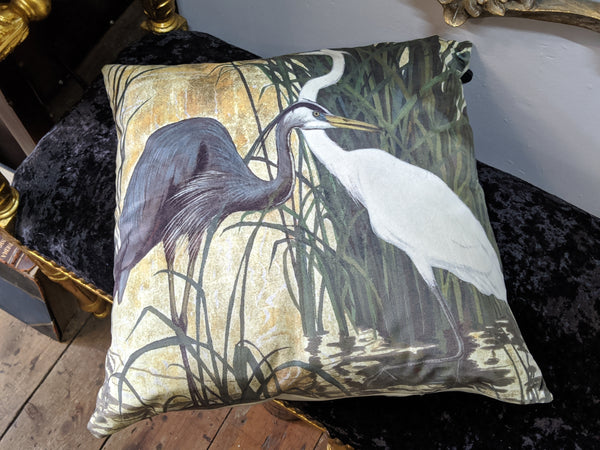 "New 18"" Square Cream HERON Bird Design Shabby Chic Style VELVET Feather CUSHION & Cover"