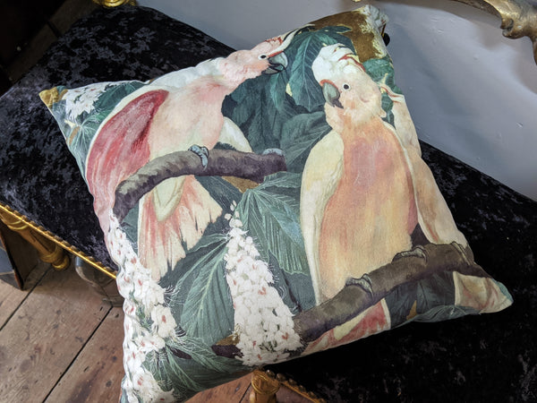 "New 18"" Square COCKATEELS Bird Design Cream Shabby Chic Style VELVET Feather CUSHION & Cover"
