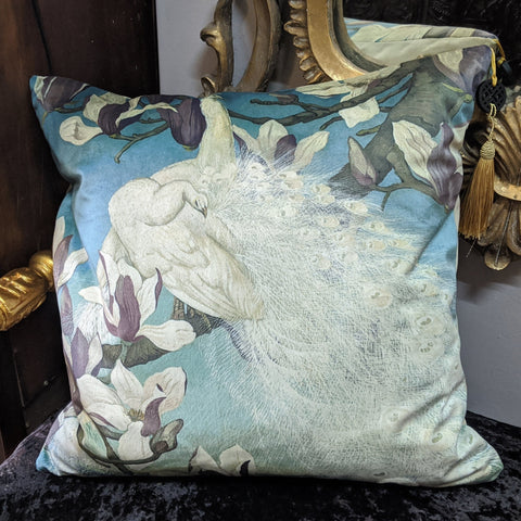 "New 18"" Square White PEACOCK Bird Design Cream Shabby Chic Style VELVET Feather CUSHION & Cover"