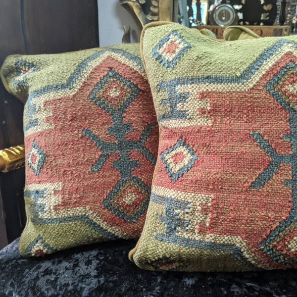 "New 18"" Square INDIAN KILIM KELIM Jute & Wool Aztec Design HAND WOVEN CUSHION & Cover"
