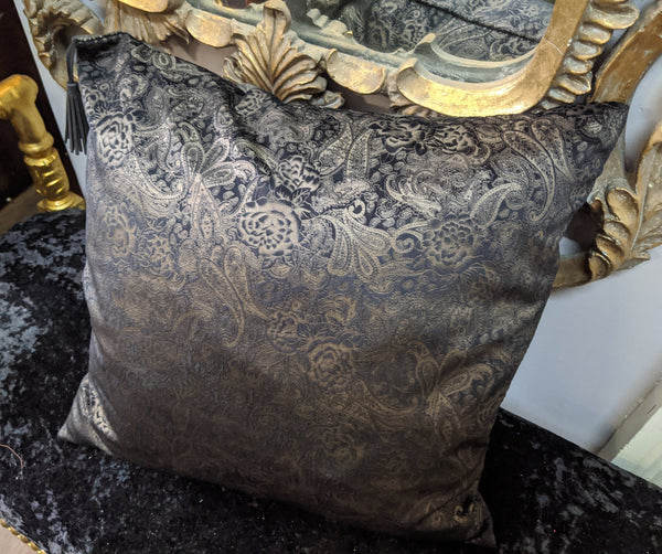 "New 18"" Square Black & Gold PAISLEY Design Shabby Chic Style VELVET Feather CUSHION & Cover"