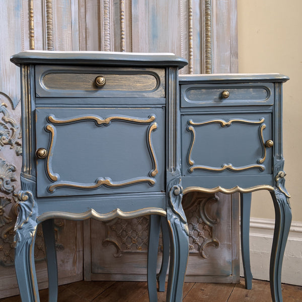 French TEAL Shabby Chic MARBLE Lamp Sofa Hall Table Bedside Wash Stand Cupboard
