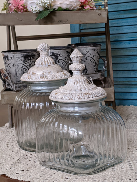 New Vintage French Shabby Chic Clear Cream Glass SEALED Cookie Biscuit Sweet Bon Bon Jar
