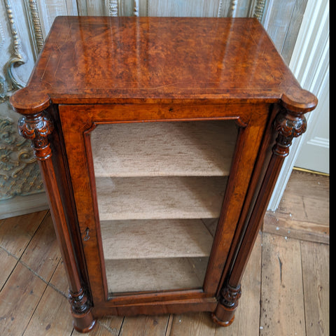 Antique Victorian INLAID Walnut Display Glass China Storage Bookcase MUSIC Cabinet Cupboard