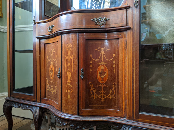 Antique INLAID Mahogany Chiffonier Dresser Sideboard Credenza Display Glass China Cabinet Cupboard