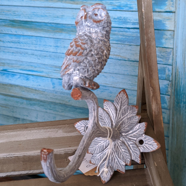 New Grey OWL French Vintage Shabby Chic Metal Rustic Wall Single Coat Towel Hat HOOK