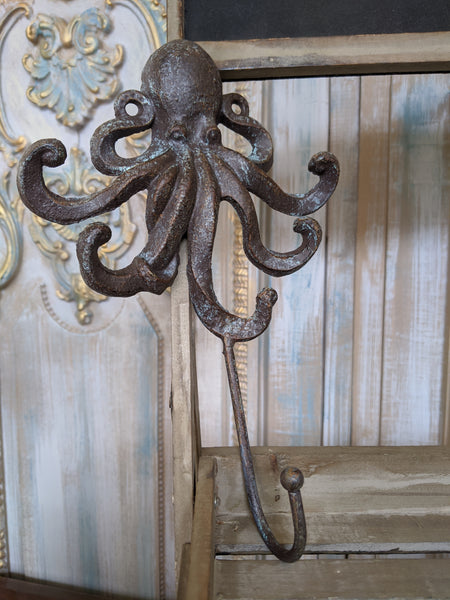 New OCTOPUS French Vintage Shabby Chic Metal Rustic Wall Single Coat Towel Hat HOOK