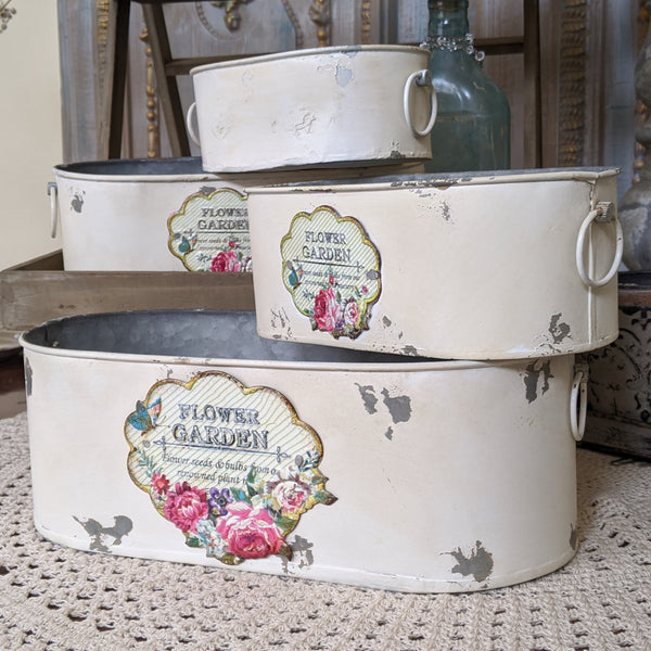 NEW French CREAM Vintage Shabby Chic Set of 4 OVAL Planter Metal Baskets Pots Buckets Bin Pail