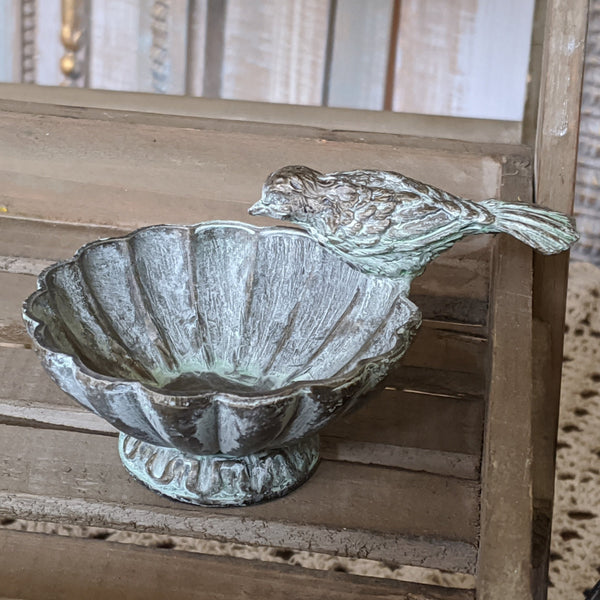 New BIRD Vintage Shabby Chic French Verdigris Bronze Rustic Jewellery Coin Fluted DISH Bowl