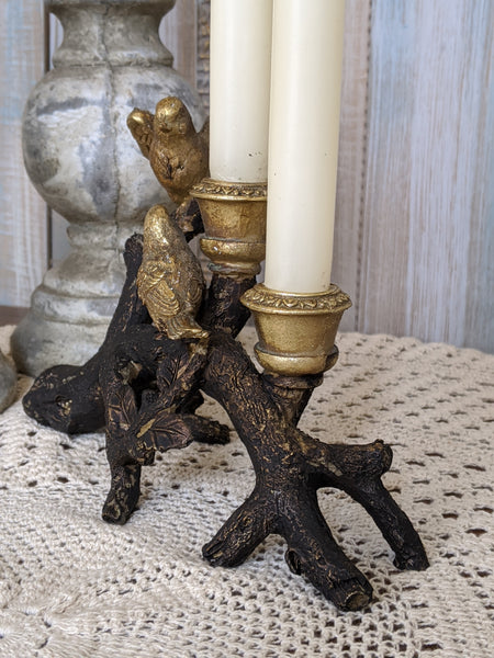 New Birds on Branch Vintage French Shabby Chic Rustic GOLD & Black Candlestick Candle Holder
