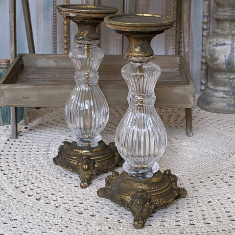 New Vintage French Shabby Chic Rustic Clear Glass & GOLD Fluted Candlestick Candle Holder