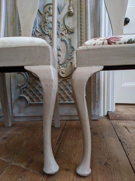 Pair of VINTAGE Shabby Chic Queen Anne French Grey Painted Dining Hall Chairs