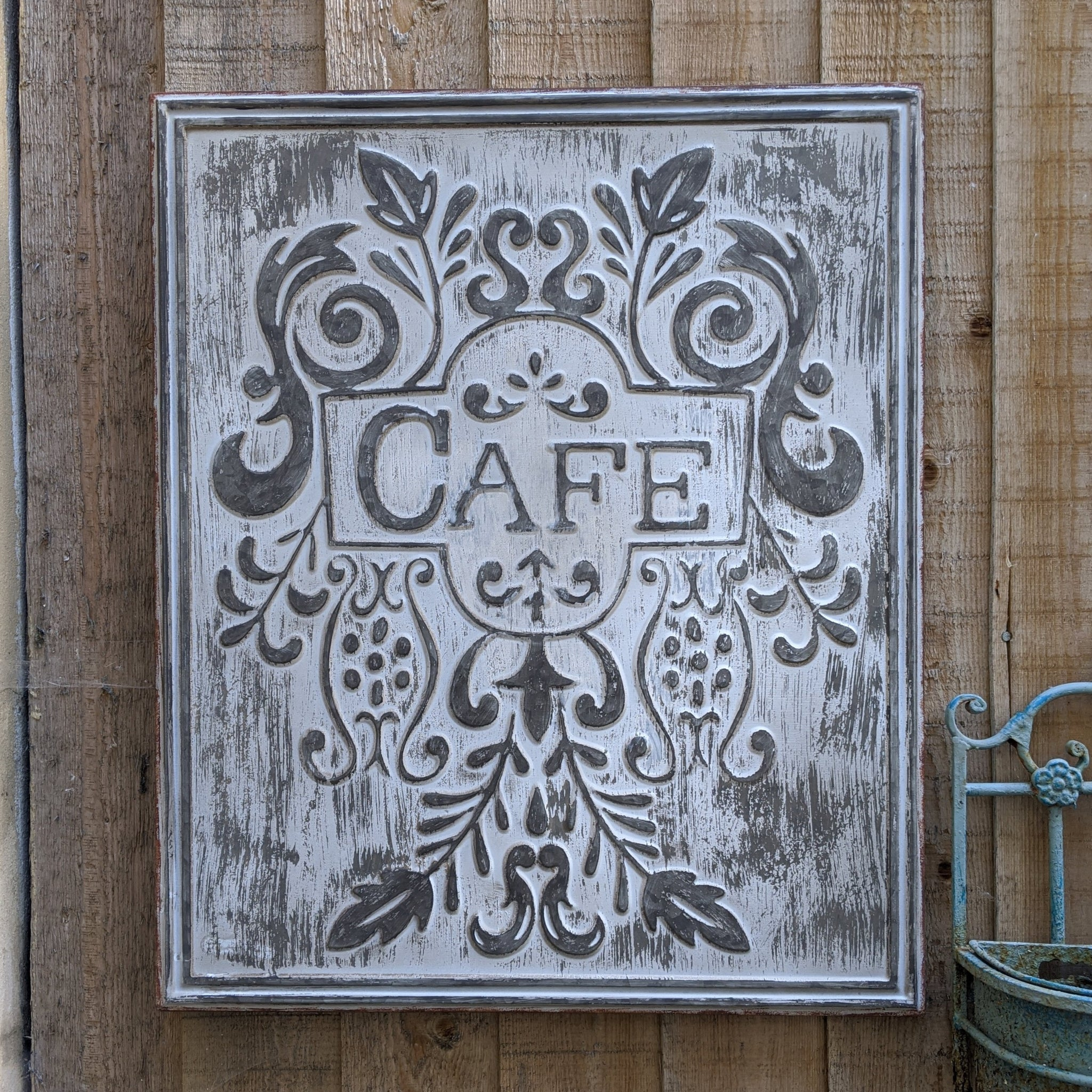 New CAFE Galvanised GREY French Vintage Rustic Shabby Chic Metal Tin Wall Plaque Sign Life Quote