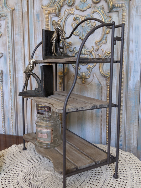 New Rustic Shabby Chic Metal & Wood 3 Shelf Kitchen Bath Storage Freestanding Rack Unit
