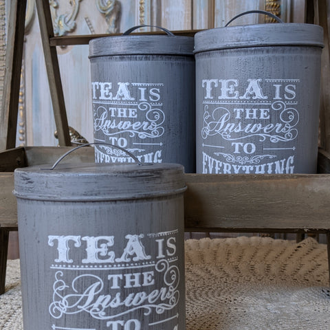 NEW French GREY Vintage RETRO Shabby Chic Metal TEA Canister Kitchen Storage Tin