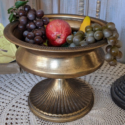 New Vintage Shabby Chic Gold URN Metal Planter Pot Fruit BOWL Flower Table Centrepiece