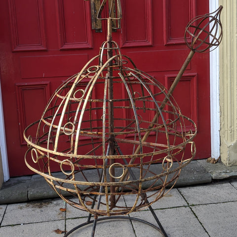 Large ARMILLARY Vintage Metal Rustic Royal ORB & SCEPTRE Garden Round Ball Ornament Sphere Obelisk Cross