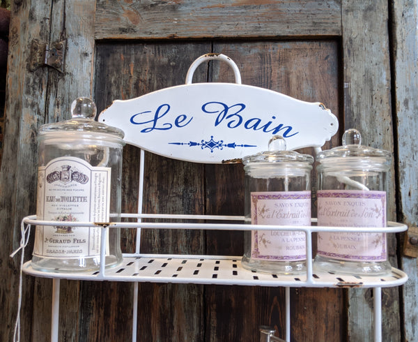New WHITE Enamel Shabby Chic French Vintage RETRO Bath 3 Shelf Storage Wall Rack