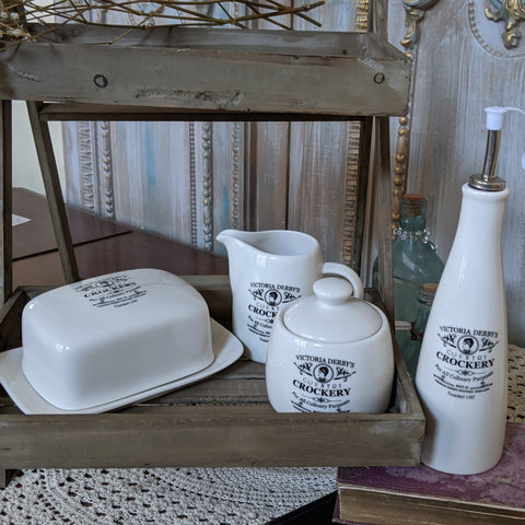 New FRENCH Cream Shabby Chic Crockery 4 Piece SET Milk Jug Sugar Bowl Oil Vinegar Jar POT BUTTER Dish