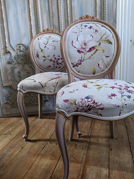 FRENCH LOUIS Shabby Chic Painted Dusky Pink Carved Floral LINEN Hall Boudoir Chair