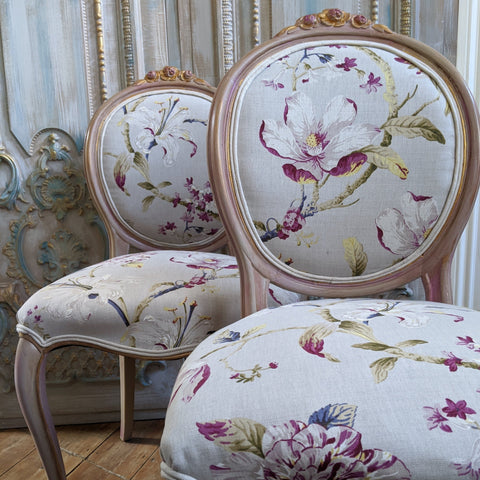 FRENCH LOUIS Shabby Chic Dusky Pink Carved Floral LINEN Hall Boudoir Chair