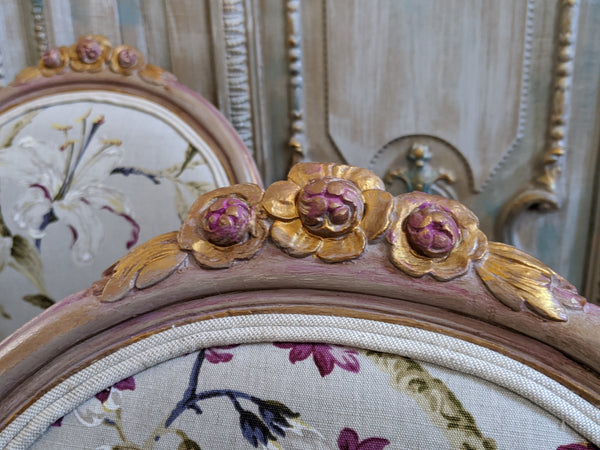 Antique FRENCH Louis Shabby Chic Painted Carved Floral LINEN Hall Boudoir Parlour Chair