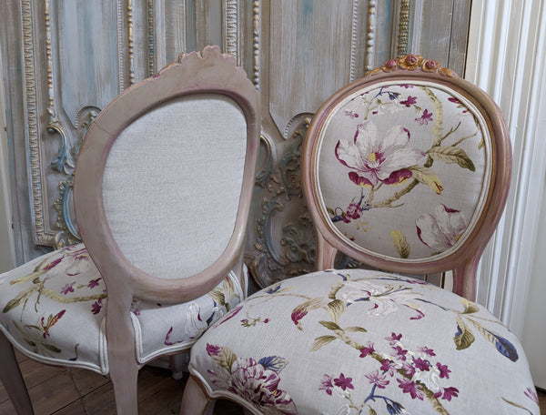 FRENCH LOUIS Shabby Chic Painted Dusky Pink Carved Floral LINEN Hall Boudoir Parlour Chair