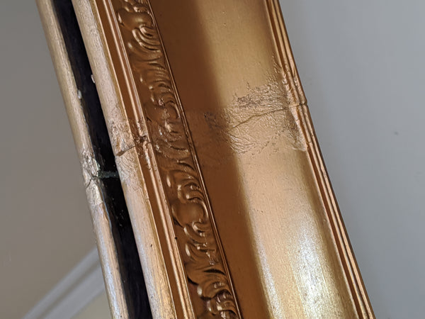 OVAL Gold Gilt French Louis Vintage Antique Style Ornate OVERMANTEL Tall Wall Frame Full Length Mirror