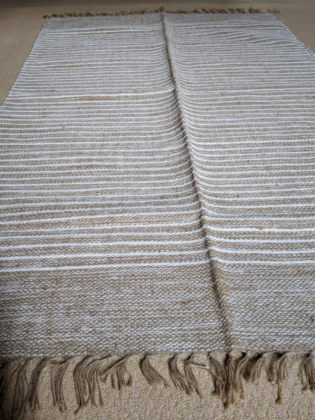 New 120x180cm Natural & Cream INDIAN KILIM KELIM 100% JUTE HAND WOVEN Carpet Rug Runner
