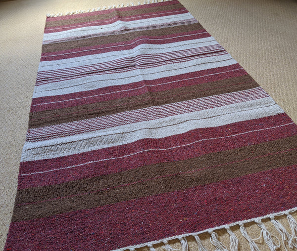 New 90x150cm Cream INDIAN KILIM KELIM 100% COTTON Aztec Design HAND WOVEN Carpet Rug Runner