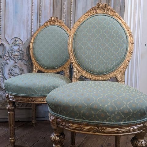 Antique FRENCH Louis GOLD Gilt Shabby Chic Carved Hall Boudoir Parlour Chair