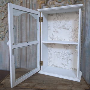 New VINTAGE Style WHITE French Louis Shabby Chic Glass Wall Display Cabinet Cupboard Unit