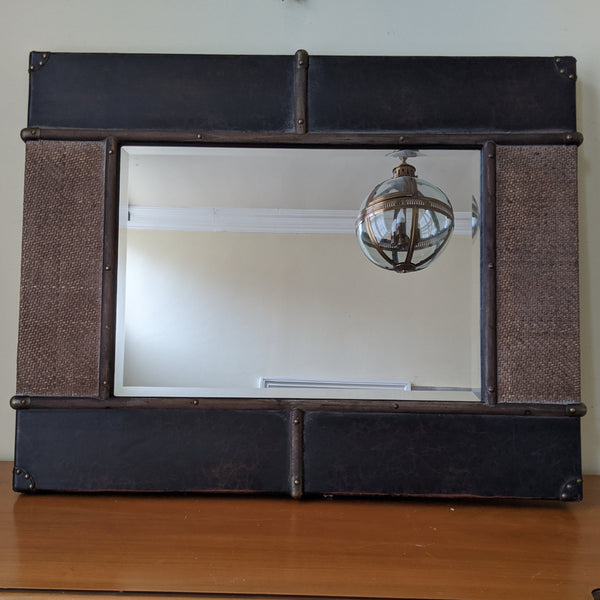 NEW Wood & Rattan Leather Stud Distressed Shabby Chic Large Rustic Wall Mirror