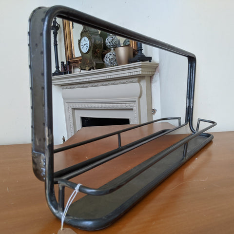 New Gunmetal Rustic GREY Industrial Vintage Style Wide Mirror with Shelf