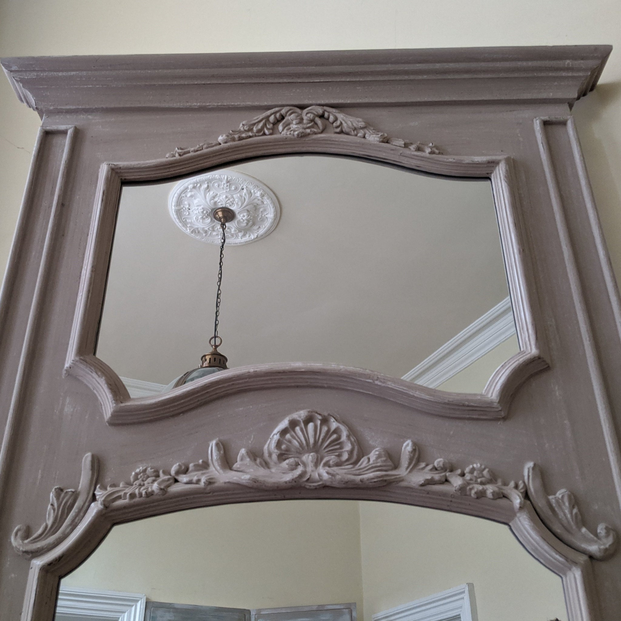 NEW French Louis Large Shabby Chic Rustic BEIGE Taupe Overmantel Ornate Wall Mirror