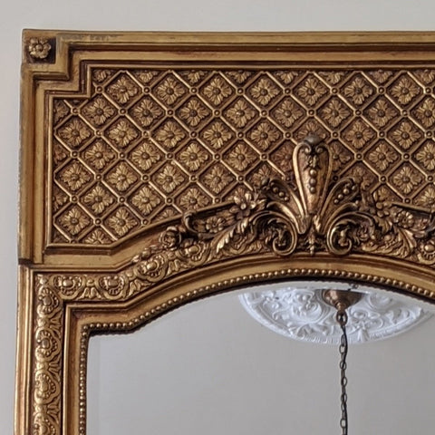 Gold Gilt REGENCY Style Vintage Antique Ornate OVERMANTEL Tall Full Length Mirror