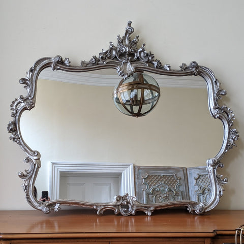 SILVER Pewter French Louis Vintage Antique Ornate Large OVERMANTEL Wall Frame Mirror