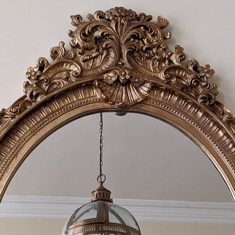 OVAL Gold Gilt CHERUB French Louis Vintage Style Ornate OVERMANTEL Mirror