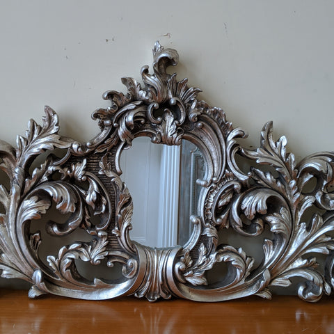 New SILVER Pewter French Louis Vintage Antique Ornate Decorative Wall Mirror Pediment