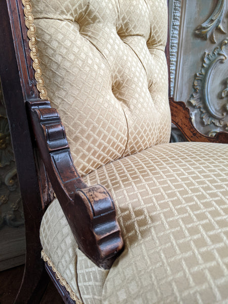 Antique Victorian Low SPRUNG Seat Solid Fireside Library Carved Nursing Lounge Chair