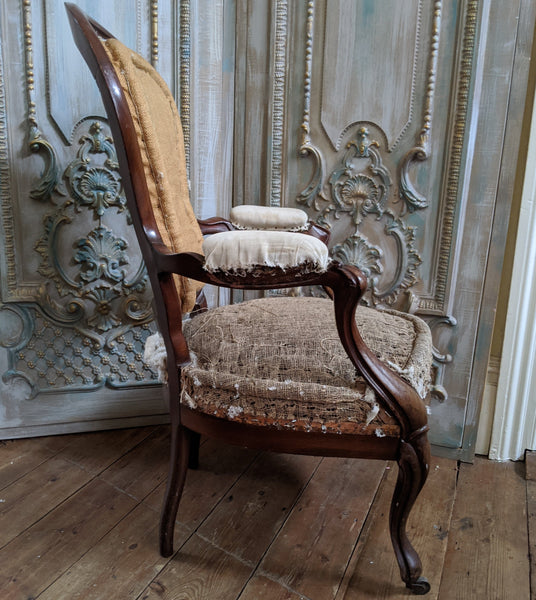 Antique Vintage FRENCH Mahogany Fireside Library Reading Parlour Armchair Chair for Upholstery