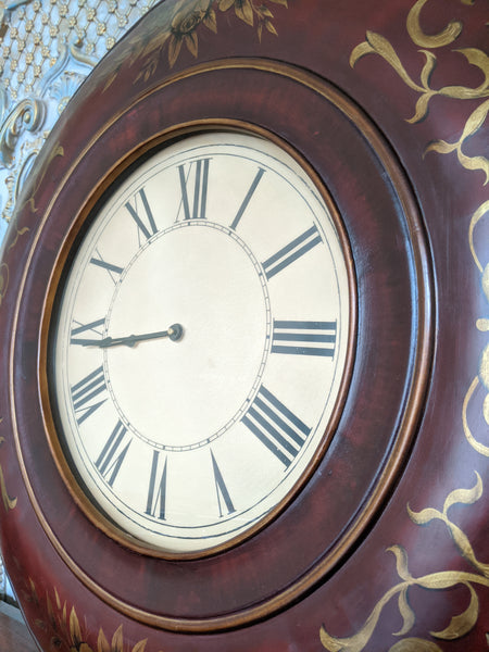 New 92cm Vintage French BURNISHED Gold Hand Painted Shabby Chic Large Wall CLOCK